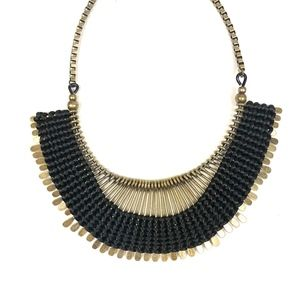 Antique Gold & Black Woven Bib Statement Necklace
